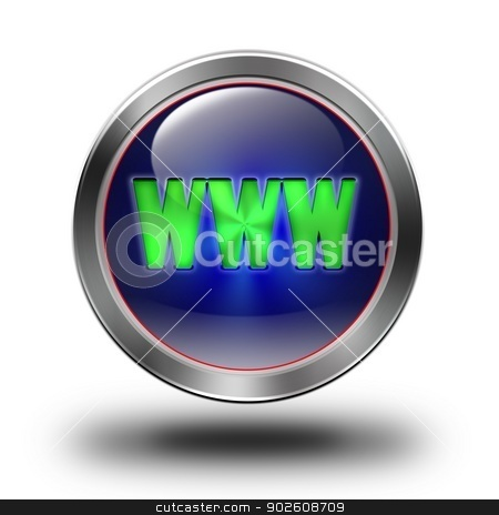 WWW glossy icon stock photo, aluminum, steel, chromium, glossy, icon, button, sign, icons, buttons, crazy colors by Konrad Kerker