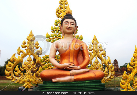 Buddha statue in Thailand stock photo, Buddha statue in a historical temple in Ayutthaya Thailand by John Young
