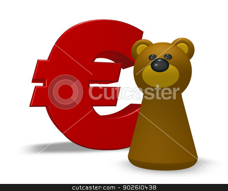 euro and bear stock photo, euro symbol and bear character - 3d illustration by J?