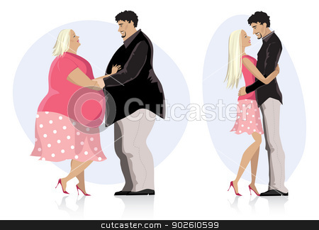 Dieting couple in love stock vector clipart, Illustration of a dieting couple in love before and after diet by Vanda Grigorovic