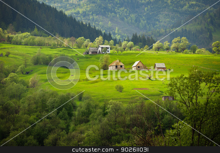 European summer landscape with mountains, meadows and houses stock photo, European summer green landscape with mountains, meadows and houses by Alexey Romanov
