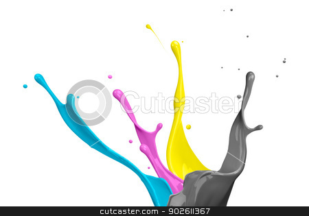 Colored paint splashes isolated on white background  stock photo,  Colored paint splashes isolated on white background  by photomyheart