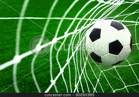 soccer ball in goal  stock photo, soccer ball in goal  by photomyheart
