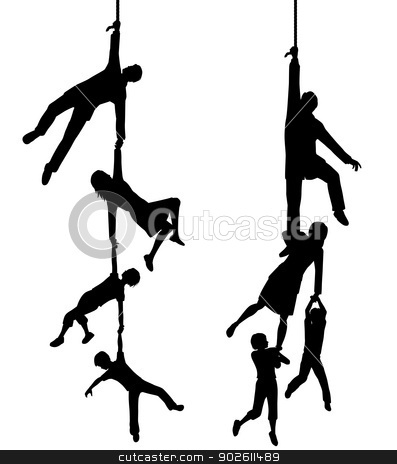Hanging on stock vector clipart, Two editable vector silhouettes of a family hanging at the end of a rope with each figure as a separate object by Robert Adrian Hillman