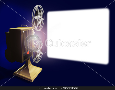 Vintage projector film stock photo, Render of vintage 16 mm movie projector and screen. by Anadmist