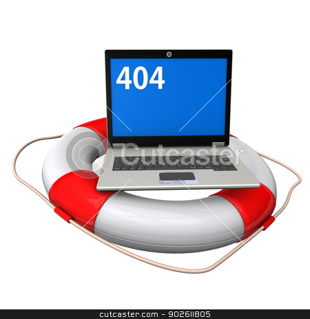 Laptop Lifebelt 404 stock photo, Laptop with blue screen, white numbers 404 and lifebelt on the white background. by Alexander Limbach