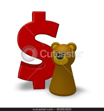 dollar and bear stock photo, dollar symbol and bear character - 3d illustration by J?