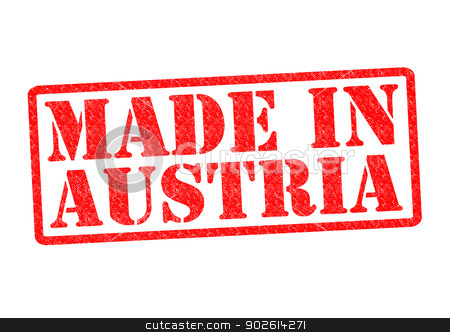 MADE IN AUSTRIA stock photo, MADE IN AUSTRIA Rubber Stamp over a white background. by Chris Dorney