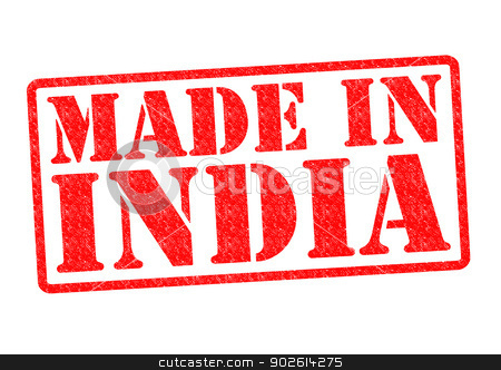 MADE IN INDIA stock photo, MADE IN INDIA Rubber Stamp over a white background. by Chris Dorney