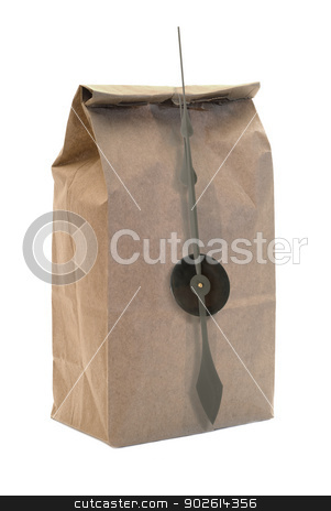Brown Paper Bag stock photo, A brown paper bag with clock hands isolated on a white background by Richard Nelson