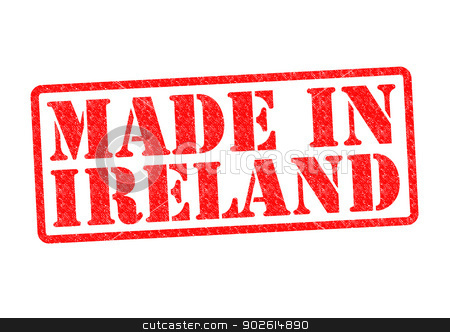 MADE IN IRELAND stock photo, MADE IN IRELAND Rubber Stamp over a white background. by Chris Dorney