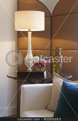 Room set elements stock photo, Room set detail with decoration elements vertical by ABBPhoto
