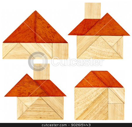 tangram house abstracts stock photo, four abstract pictures of a house with a red roof built from seven tangram wooden pieces, a traditional Chinese puzzle game by Marek Uliasz