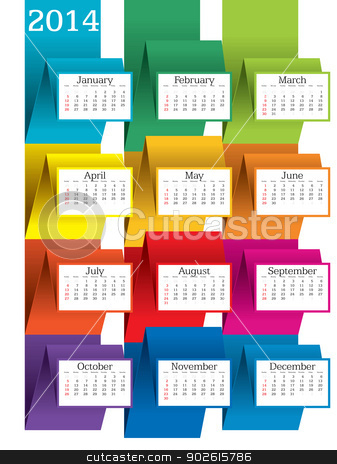 2014 calendar stock vector clipart, 2014 calendar - vector illustration by ojal_2