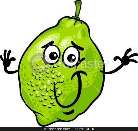 funny lime fruit cartoon illustration stock vector clipart, Cartoon Illustration of Funny Lime Citrus Fruit Food Comic Character by Igor Zakowski