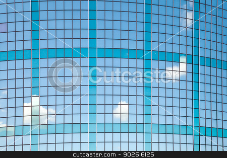 curved facade of trade building in Rotterdam stock photo, curved facade with reflections of sky and clouds in trade building in Rotterdam by anton havelaar