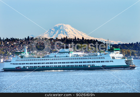 Car Ferry North Seattle Mount Rainier Puget Sound Snow Mountain  stock photo, Car Ferry Mount Rainier Puget Sound North Seattle Snow Mountain Washington State Pacific Northwest by William Perry