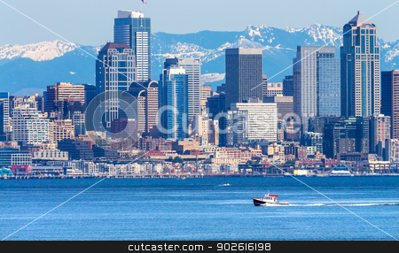 Seattle Skyline Motorboat Puget Sound Cascade Mountains Washingt stock photo, Seattle Skyline Motorboat Puget Sound Cascade Mountains Washington State Pacific Northwest by William Perry