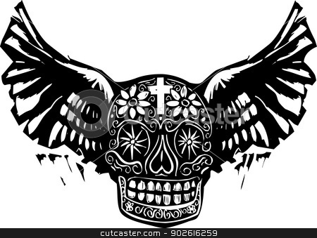 Day of the Dead Winged Skull stock vector clipart, Woodcut style image of a Mexican Day of the Dead skull with wings. by Jeffrey Thompson