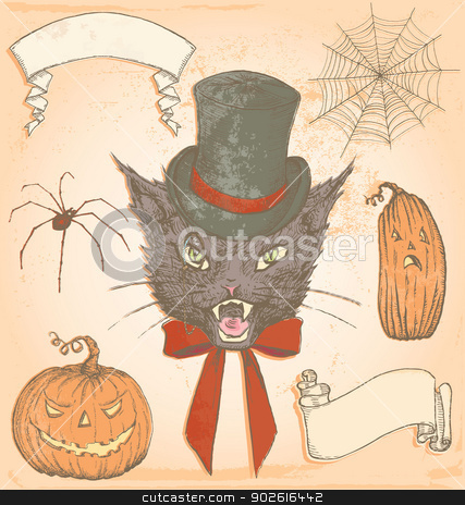 Hand Drawn Vintage Halloween Creepy Cat Vector Set stock vector clipart, Spooky vintage inspired elements to embellish your layout. No transparency used. All colour fills are separate from outlines, and all elements are grouped separately for convenient editing. by ArtnerDluxe