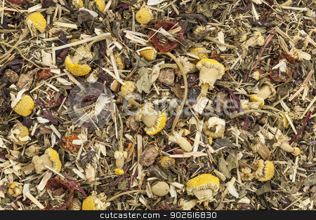 herbal tea background stock photo, background of organic herbal tea - chamomile, peppermint,,orange peel, rose hips, hibiscus, by Marek Uliasz