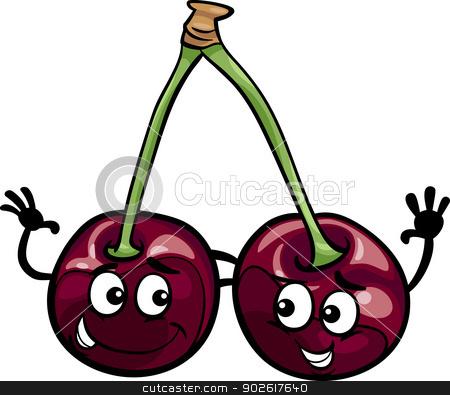 black cherry fruits cartoon illustration stock vector clipart, Cartoon Illustration of Funny Black Cherry Fruits Food Comic Character by Igor Zakowski