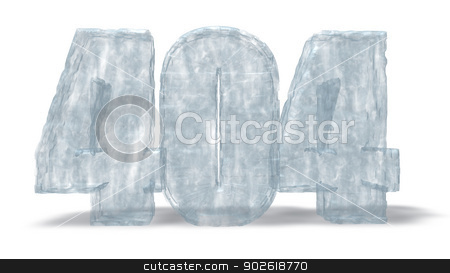 ice number 404 stock photo, frozen number 404 on white background - 3d illustration by J?