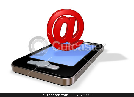 smartphone email stock photo, smartphone and email symbol on white background - 3d illustration by J?