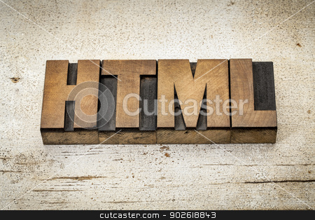 html acronym in wood type stock photo, html (hyper text markup language) acronym - a word in vintage letterpress wood type on a grunge painted barn wood background by Marek Uliasz