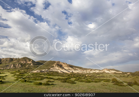 clouds over Colorado ranch stock photo, clouds over mountain  Colorado ranch - Red Mountain Open Space near Fort Collins by Marek Uliasz