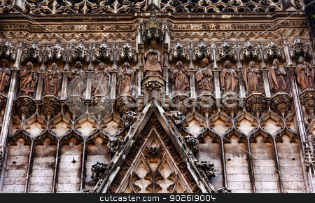 Christ Disciples Statues Facade Cathedral of Saint Mary of the S stock photo, Christ Disciples Statues Facade Seville Cathedral, Cathedral of Saint Mary of the See, Seville, Andalusia Spain.  Built in the 1500s.  Largest Gothic Cathedral in the World and Third Largest Church in the World.  Burial Place of Christopher Columbus.   by William Perry