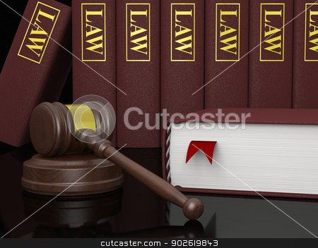 Legal literature stock photo, Gavel and law books, symbols of law and legal literature by Harvepino