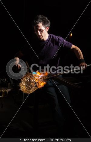 Blowtorch on Glass Object stock photo, Glass craftsman using blowtorch to shape a jar by Scott Griessel