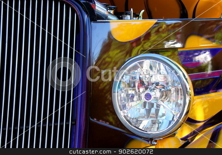 Hot Rod Show Car Light stock photo, Closeup of a hot rod show car light. by Henrik Lehnerer