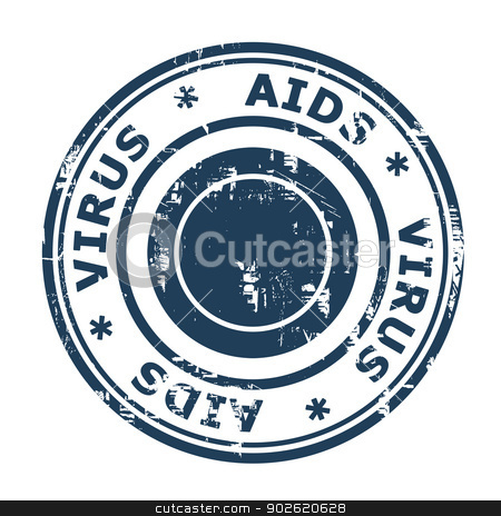 AIDS virus Stamp stock photo, AIDS virus stamp isolated on a white background. by Martin Crowdy