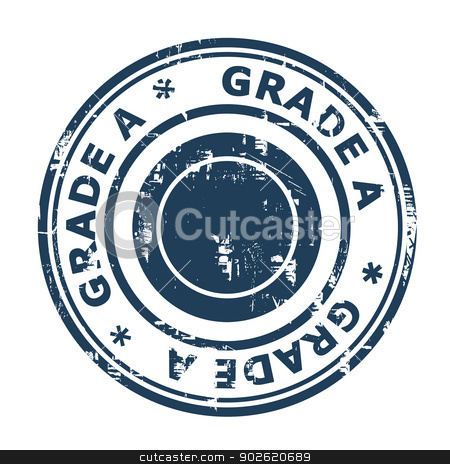 Grade A concept stamp stock photo, Grade A concept stamp isolated on a white background. by Martin Crowdy
