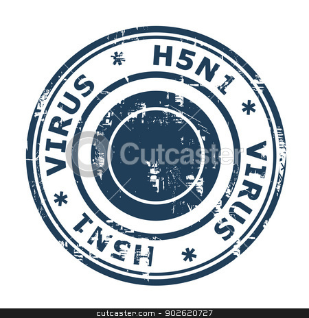 H5N1 Virus Stamp stock photo, H5N1 Virus Stamp, Avian Bird Influenza isolated on a white background. by Martin Crowdy