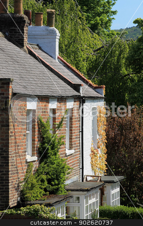 Ivy covered house or home stock photo, Ivy covered house or home in countryside. by Martin Crowdy
