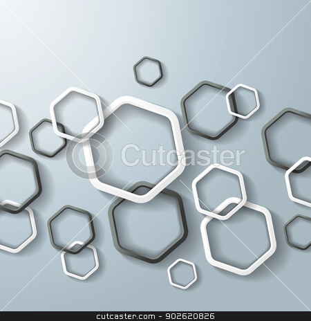 Black And White Hexagon Rings stock photo, Black and white hexagon rings with shadows on the grey background.  by Alexander Limbach