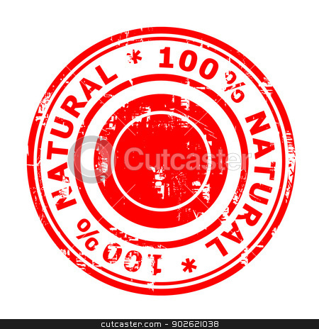 100% natural concept stamp stock photo, 100% natural concept stamp isolated on a white background. by Martin Crowdy