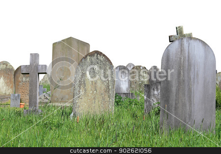 Old graves in cemetery isolated stock photo, Old graves in cemetery isolated on white background with copy space. by Martin Crowdy