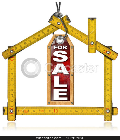 House For Sale - Wood Meter Tool stock photo, Wooden yellow meter tool forming a house and hanging tag with written