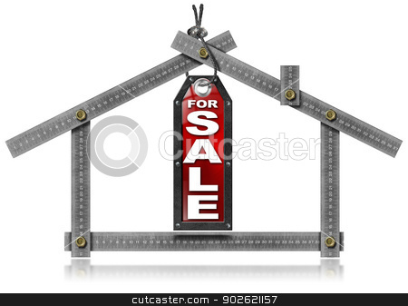 House For Sale - Metal Meter Tool stock photo, Metallic gray meter tool forming a house and hanging tag with written