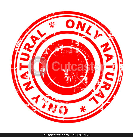Only natural concept stamp stock photo, Only natural concept stamp isolated on a white background. by Martin Crowdy