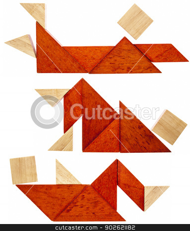 tangram resting figures stock photo, three abstract figures lying down and resting  built from seven tangram wooden pieces, a traditional Chinese puzzle game by Marek Uliasz