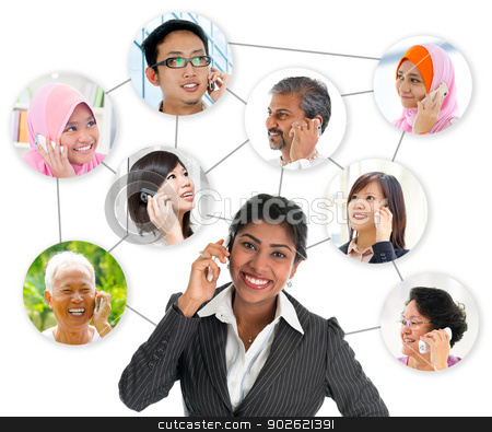 Communication network connection  stock photo, People talking on the phone. Collage made network connection of diversity races. Asian communication concept. by szefei