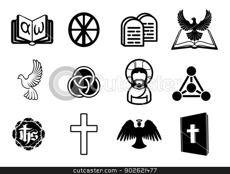 Christian icon set stock vector clipart, A Christian religious icon set with signs and symbols related to Christian themes by Christos Georghiou