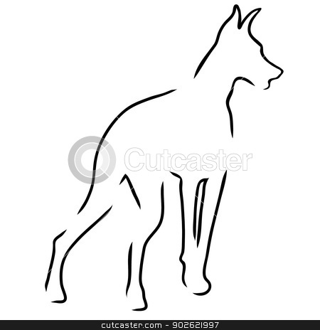 Doberman Outline stock vector clipart,  A stylized outline of a Doberman Pinscher standing guard by Maria Bell