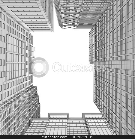 Skyscraper rendering in lines stock photo, Skyscraper rendering in lines. Isolated render on a white background by cherezoff