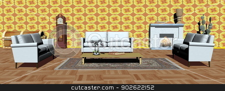 Modern apartment interior - 3D render stock photo, Interior of modern apartment with white sofas, carpet, fireplace and yellow wallpaper by Elenarts